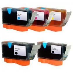 Sada 5ks Canon PGI-520 / CLI-521 (PGI520, CLI521) PIXMA - kompatibilní inkoustové náplně (cartridge) - IP-3600,IP-4600,MP-550