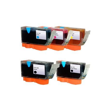 Sada Canon PGI-520 / CLI-521 (PGI520, CLI521) PIXMA - kompatibilní inkoustové náplně (cartridge) - IP-3600,IP-4600,MP-550,MP-640