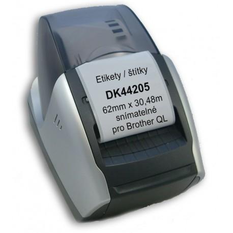Etikety / Štítky DK44205 (DK-44205) 62mm x 30.48m, snímatelné, kompatibilní pro Brother QL, bílé s držákem