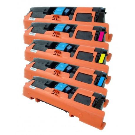 5x Toner HP Q3960A, Q3961A, Q3962A, Q3963A LaserJet 1500 / 2550 / 2820 / 2840 - C/M/Y/2xK kompatibilní