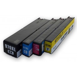 Sada 4ks HP 970XL / 971XL (970 XL, 971 XL)  pro HP Officejet Pro X576, X476, X551, X451 - kompatibilní inkoustové náplně