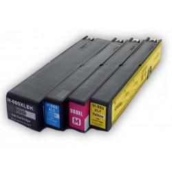 Sada 4ks HP 980XL černá / modrá / červená / žlutá (D8J10A, D8J07A, D8J08A, D8J09A) - X555, X585 - kompatibilní inkoustové náplně