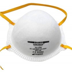 Respirátor FFP2 - proti pevným a kapalným škodlivým prachům, kouřům, aerosolům. Musí zachytit minimálně 94% pevných částic