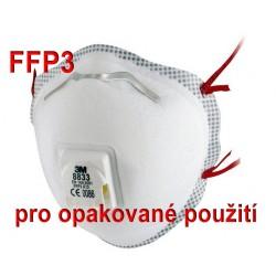 Respirátor 3M  8833 FFP3 R D pro opakovné použití - proti bakteriím a virům (COVID-19, koronavirus, coronavirus)