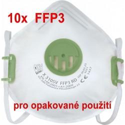 10x Respirátor Oxyline X 310 SV FFP3 R D pro opakované použití - proti bakteriím a virům (COVID-19, koronavirus, coronavirus)