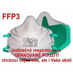 Respirátor BLS Zer0 30NV FFP3 R D pro opakované použití - proti prachům, bakteriím a virům (COVID-19, koronavirus, coronavirus)