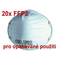 20x Respirátor BLS 128BW FFP2 R D pro opakované použití - proti prachům, aerosolům, COVID-19, koronavirus, coronavirus