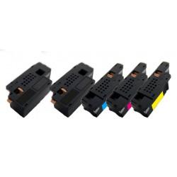5x Toner Dell C1660 / C1660W - C/M/Y/2xK vysokokapacitní kompatibilní 4G9HP, V53F6, DWGCP, V3W4C, 7C6F7