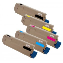 5x Toner Oki C5600 43324408, 43381907, 43381906, 43381905  - C/M/Y/2xK kompatibilní - Oki C5600N, C5700, C5700N, C5600DN
