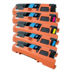 5x Toner HP Q3960A, Q3961A, Q3962A, Q3963A (122A) LaserJet  2550 / 2820 / 2840 - C/M/Y/2xK kompatibilní