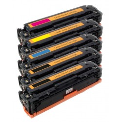 5x Toner HP CB540A, CB541A, CB542A, CB543A (CB540, CB542, 125A) LaserJet CP-1210,CM-1312, CP-1214 - C/M/Y/2xK komp.