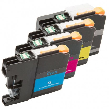 Sada 4ks Brother LC-227XLBk, LC-225XLC, LC-225XLM, LC-225XLY, LC-227Bk, LC-225) - kompatibilní inkoustové náplně (cartridge)