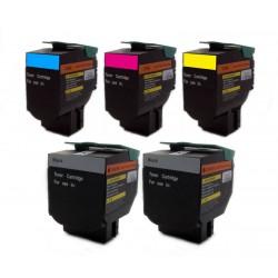 Sada 5x barevný toner 70C2HK0, 70C2HC0, 70C2HM0, 70C2HY0 (C/M/Y/2x K) kompatibilní pro Lexmark CS310, CS410, CS510