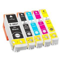 Sada 5ks Epson T2636 - 26XL (T2621,T2631,T2632,T2633,T2634) XP-600, XP-605, XP-800, XP-700 komp. inkoustové náplně (cartridge)