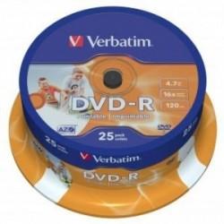 Verbatim DVD-R, 43538, DataLife PLUS, 25-pack, 4.7GB, 16x, 12cm, General, Advanced Azo+, cake box, Wide Printable
