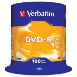 Verbatim DVD-R, 43549, DataLife PLUS, 100-pack, 4.7GB, 16x, 12cm, General, Advanced Azo+, cake box, Scratch Resistant