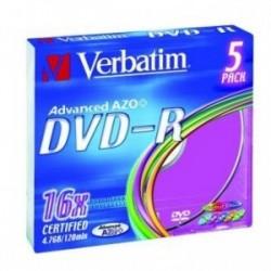 Verbatim DVD-R, 43557, DataLife PLUS, 5-pack, 4.7GB, 16x, 12cm, General, Advanced Azo+, slim box, Colour, bez možnosti potisku