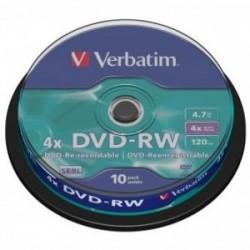 Verbatim DVD-RW, 43552, DataLife PLUS, 10-pack, 4.7GB, 4x, 12cm, General, Serl, cake box, Scratch Resistant,