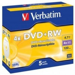 Verbatim DVD+RW, 43229, DataLife PLUS, 5-pack, 4.7GB, 4x, 12cm, General, Standard, jewel box, Scratch Resistant