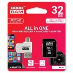 Goodram All-In-ONe, 32GB, microSDHC, multipack, M1A4-0320R11, UHS-I U1 (Class 10), se čtečkou a adaptérem