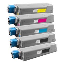 5x Toner Oki C610 44315308, 44315307, 44315306, 44315305  - C/M/Y/2xK kompatibilní - Oki C610DN, C610N, C610DTN