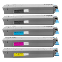5x Toner Oki C810 44059108, 44059107, 44059106, 44059105  - C/M/Y/2xK kompatibilní - Oki C810DN, C810N, C830, C830DN, C830N