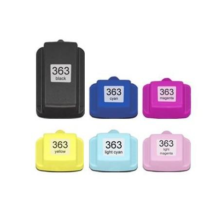 Sada 6ks HP 363XL (363 XXL)  s čipem HP Photosmart 3100, 3110, 8250, 7100, 6250 - kompatibilní inkoustové náplně (cartridge)