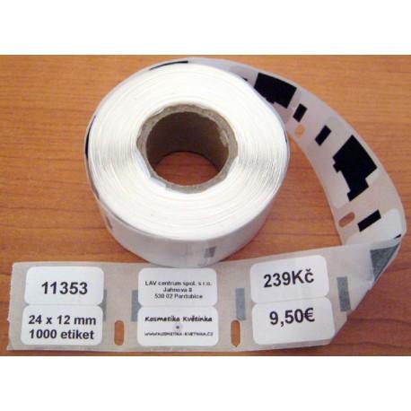 Etikety / Štítky Dymo Label Writer 24x12mm, 11353, S0722530 1000ks kompatibilní
