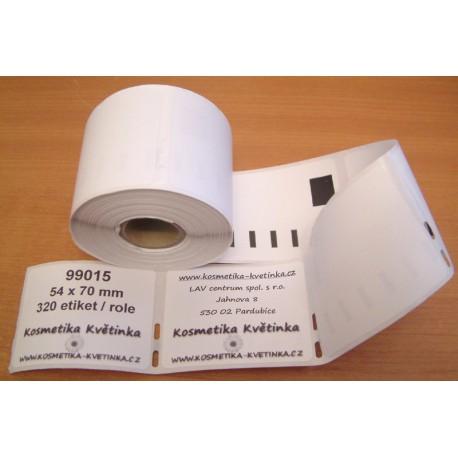 Etikety / Štítky Dymo Labelwriter 70x54mm , 99015, S0722440, 320ks kompatibilní