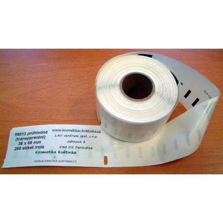 Etikety / Štítky Dymo Labelwriter 89x36mm , 99013, S0722410, 260ks průhledné (transparentní) kompatibilní - Dymo