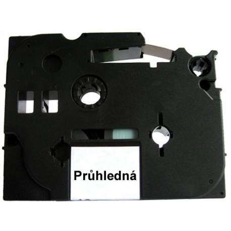 Páska (štítky) Brother TZ-121 (TZE121 P-touch), 9mm, délka 8m, černá / transparentní, laminovaná - kompatibilní
