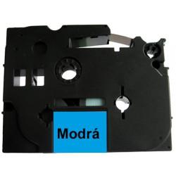 Páska (štítky) Brother TZ-521 (TZE-521, PT,  P-touch), 9mm, délka 8m, černá / modrá, laminovaná - kompatibilní