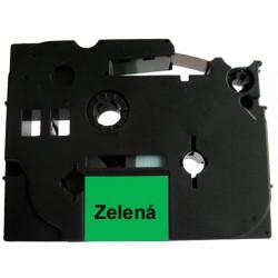 Páska (štítky) Brother TZ-721 (TZE-721, PT, P-touch), 9mm, délka 8m, černá / zelená, laminovaná - kompatibilní