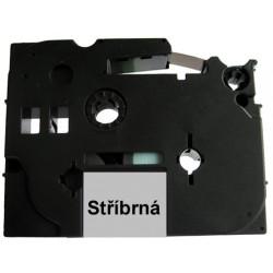 Páska (štítky) Brother TZ-921 (TZE-921, PT, P-touch), 9mm, délka 8m, černá / stříbrná, laminovaná - kompatibilní